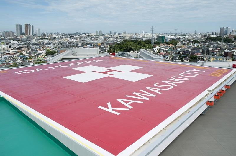 屋上にはヘリポートがあります。公立病院として災害時にも活動できる体制を整えています。